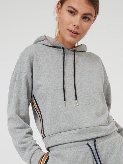 Light Grey Sports Stripe Hoodie Go casj this summer in our throw-on-and-go Sports Stripe Hoodie, featuring drawstring detail at the neck, metallic panelling down the side, and elasticated cuffs at the sleeve. With its relaxed fit and super soft finish, it's a good thing it works with so many looks, whether you're going sports luxe in leggings and heels, or full-on athleisure with its grey marl matching joggers. Main Fabric: 50% cotton 50% polyester Contrast: 100% polyester Item No. 72893